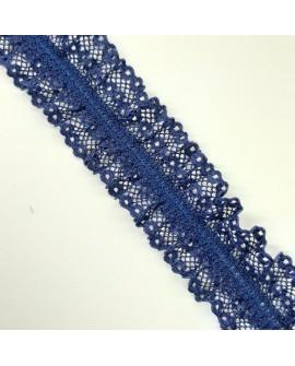 Encaje elástico rizado de color azul marino. Especial para ligas de novias, de diseño clásico y novedoso.