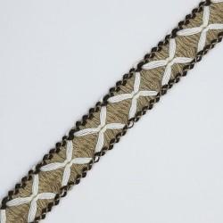 Pasamanería lana cruces galón decorativo para prendas y complementos de color camel