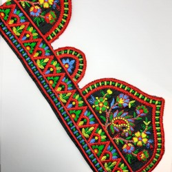 Galón bordado multicolor con puntas decorativas especial remates, acabados y adorno para prendas y complementos