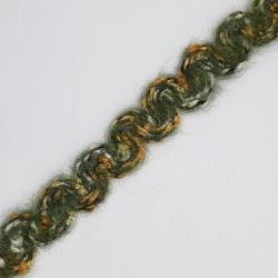 Pasamanería de lana de 1,5 cms con mezcla de colores  verde y ondas decorativas especial para ribetes, acabados y terminaciones