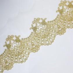 Encaje tul bordado dorado 10 cms elegante y distinguido ideal para novias, cofradias, trajes regionales,...