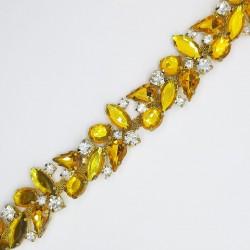 Galón piedras dorado 2 cms