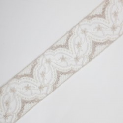 Entredos encaje tul bordado 4 cms marfil y lino