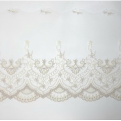 Puntilla encaje tul bordado marfil y lino de 15 cms