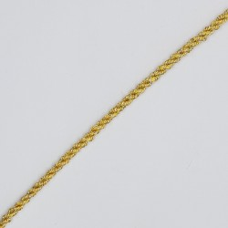Cordón dorado metalizado trenzado 3 mm, fino y elegante, ideal para adorno decorativo y proyectos manuales