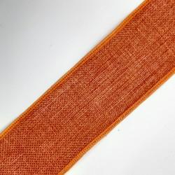 Cinta de lino de 4 cms, color caldera, para remates, acabados, complemento en prendas y menajes del hogar,...