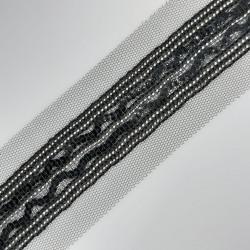 Galón pasamanería fantasía negro de 2,5 cms con lentejuelas y tul decorativo, adorno atractivo y elegante