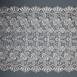 Entredos encaje guipur de color blanco y 15 cms con flores decorativas