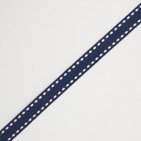 Cinta de faya con pespunte de 1 cms y color azul marino, especial para decorar regalos, recuerdos de comunión, servilletas,.. po