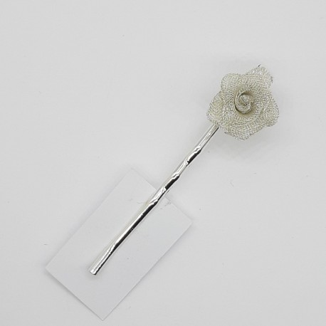 Hebilla con gancho y flor metalizada decorativa para cabello, ideal para peinados y recogidos tanto de fiesta como casu