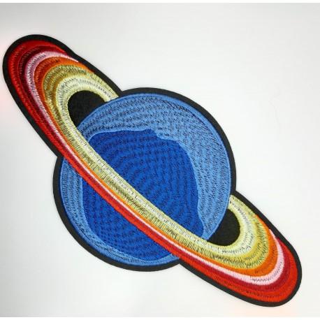 Aplicación termoadhesiva fantasía con dibujo de satélite de 10 x 22 cms ideal para prendas y complementos juveniles
