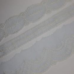 Juego entredos bordado y tira bordada muselina celeste - marfíl
