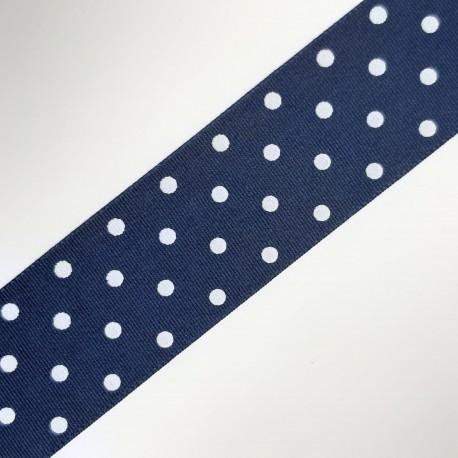 Cinta de tafetán de 3,8 cms de color azul marino y estampado de lunare, adorno para múltiples proyectos decorativos infantiles