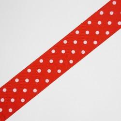 Cinta de tafetán de 2,5 cms de color rojo con estampado de lunares, adorno para múltiples proyectos decorativos