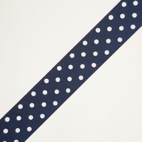 Cinta de tafetán de 2,5 cms de color azul marino con estampado de lunares, adorno para múltiples proyectos decorativos