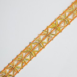 Pasamanería o galón de 1,5 cms, multicolor naranja con mezcla dorada, cinta decorativa para prendas y complementos