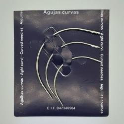 Set de 3 agujas curvas Blister de dieferente tamaños, especial para coser a mano cuero y trabajos de artesanía
