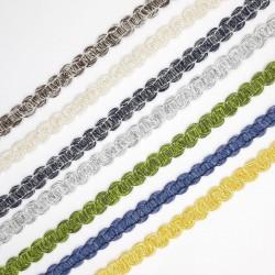 Pasamanería o galón de algodón con mezcla de 1 cms orignal y particular para múltiples fines decorativos