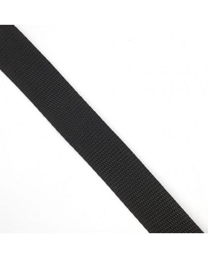 Cinta de poliéster negra de 2,5 cms especial mochilas, macutos, riñoneras, bolsos,... resistente y duradera
