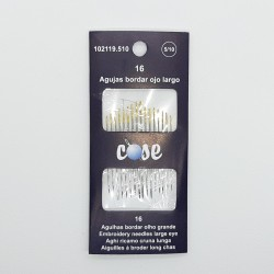 Agujas de ojo largo especial para enhebrar del 5/10. Blister de 16 agujas.