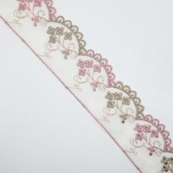 Encaje tul bordado con flores de color camel y rosa de 4,5 cms. Adorno decorativo para prendas y complementos.