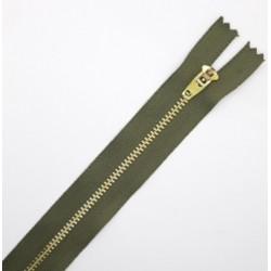 Cremallera metálica dorada 16 cms colores malla 3 verde kaki