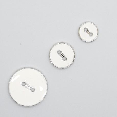 Botón blanco esmaltado filo plata de 2 agujeros plano y fino decorativo