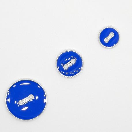 Botón azulón esmaltado filo plata de 2 agujeros plano y fino decorativo