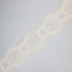 Entredos de Encaje tul bordado beige 5 cms