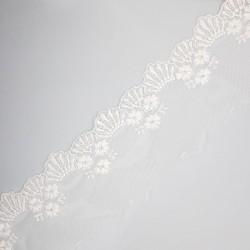 Encaje tul bordado blanco roto 8 cms