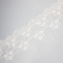 Encaje tul bordado blanco roto 11 cms