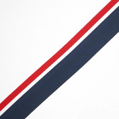 Cinta tejida rayas 2,5 cms tricolor con efecto marinero, ideal para prendas, complementos y manualidades