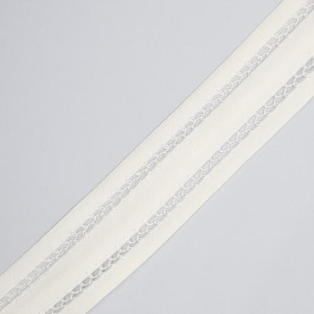 Cinta vainica doble organza marfil 3 cms, especial para prendas y complementos de ceremonias