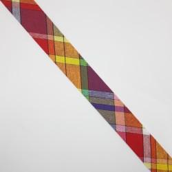 Cinta al bies de cuadros multicolor de 3 cms de algodón