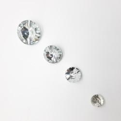Botón piedra cristal redonda, imitación Swaroski. Especial para cabeceros de cama, capitones,.. Adorno versátil