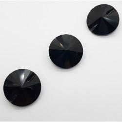 Botón piedra cristal negro redonda, imitación Swaroski. Ideal para cabeceros de cama, capitones,.. Adorno versátil