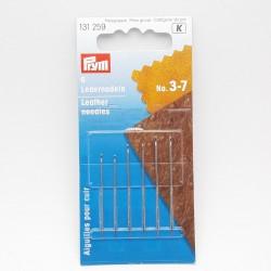 Blíster de 6 agujas surtidas de coser Prym 3-7. Especial para cuero, piel y tejidos similares