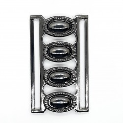 Hebilla metálica color negro pavonado. Especial para cinturones elásticos. Ideal para embellecer tus prendas de ropa.