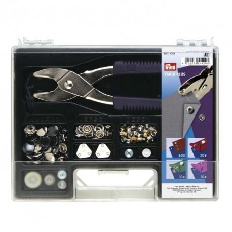Set completo de herramientas para remachar Prym. Fácil de utilizar para tus labores y manualidades.