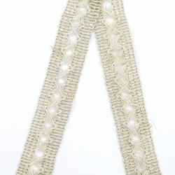 Entredos pasamanería lino 18 mm de aspecto saco rústico. Ideal para customizar tus prendas y complementos.