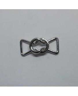 Cierre metálico níquel decorativo con un diseño moderno, ideal para tus prendas y complementos.