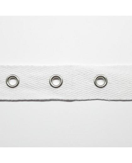 Cinta ojetes decorativa para todo tipo de prendas y complementos color blanca
