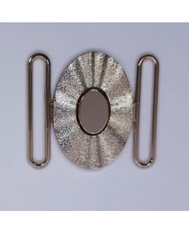 Hebilla oval metálica de color dorado con brillo adorno especial para cinturones elásticos
