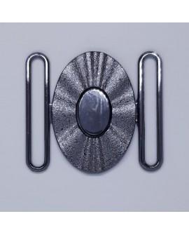 Hebilla oval negro pavonado con brillo especial para cinturones elásticos con un diseño novedoso y elegante