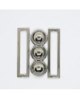 Hebilla especial para cinturón metalica con brillo adorno fantasía decorativo color plata