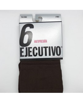 Calcetín clásico ejecutivo corto a media pierna especial antipresión sin marcar color marrón
