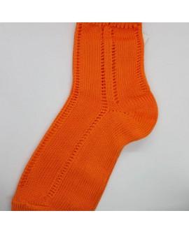 Calcetín Condor de perlé infantil con tejido suave sin marcar y diseño clásico color naranja