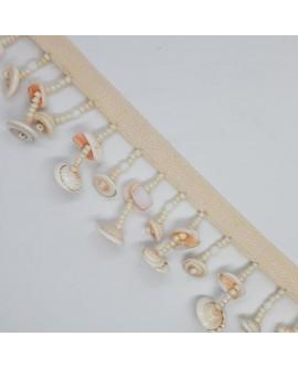 Fleco de conchas marinas y piedras adorno decorativo