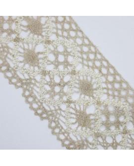 Encaje de bolillo bicolor lino y beige. Adorno decorativo especial para prendas de vestir, trajes regionales y menaje de hogar.