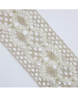 Entredos encaje de bolillo de 9 cms lino y beige. Adorno decorativo para prendas de vestir, trajes regionales y menajes del hoga